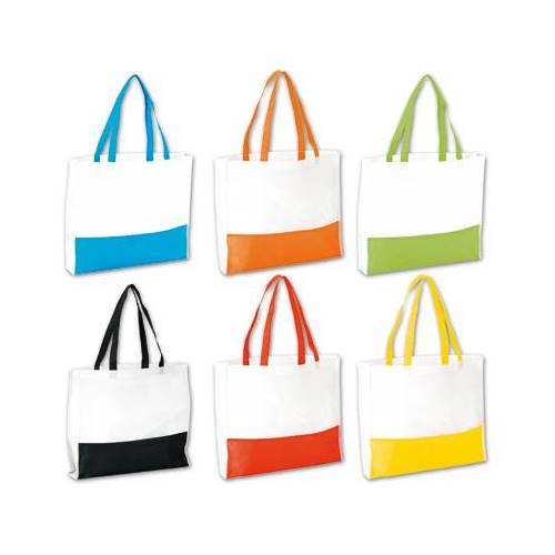 BE17-BOLSA DE PLAYA BEACH NON WOVEN 6 COLORES COMBINADOS CON BLANCO