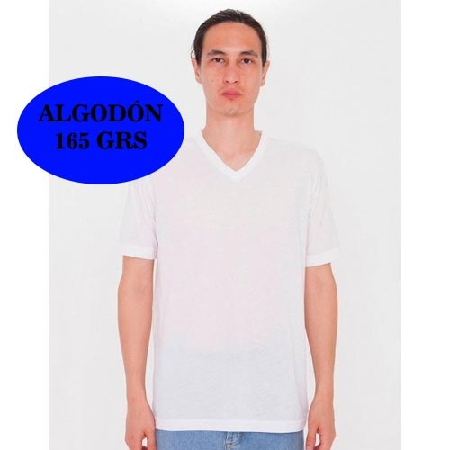 CAMISETA UNISEX SUBLIMACION V-NECK T-SHIRT AMERICAN APPAREL BLANCO (2XL)