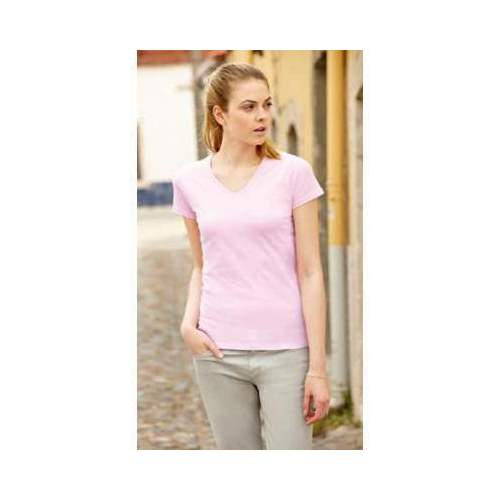 CAMISETA CUELLO V VALUEWEIGHT CORTE FEM ENINO FRUIT OF THE LOOM (BLANCO) (XS-XL)