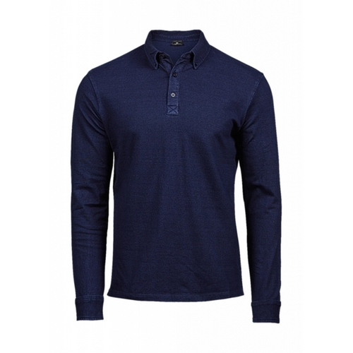 POLO FASHION LS LUXURY STRETCH POLO TEE JAYS AZUL DENIM (COLOR) (S-2XL)